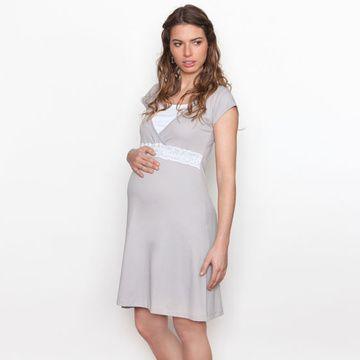 Camisa Dormir Maternal Encaje BB (Gris) Nala Maternity