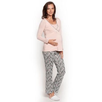 Pijama Maternal Polera Cruzada (Gris Flores Crema) ML Nala Maternity