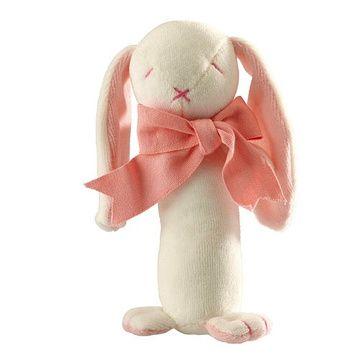 Sonajero Bastón algodón orgánico (Conejito Rosado) Maud N Lil