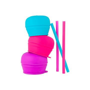 Tapa Universal silicona con pajita Snug Straw (Morado Fucsia) Boon