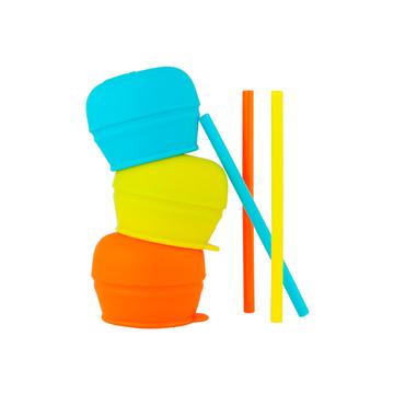 Tapa Universal silicona con pajita Snug Straw (Naranjo Verde) Boon