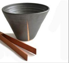 Hielera cónica cerámica gres y raulí