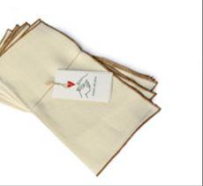 Set 4 servilletas de lino blanco marfil