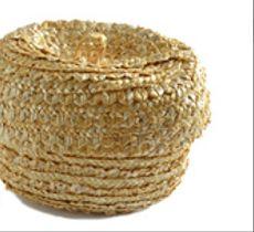 Canasto ovalado con tapa tejido en paja de trigo