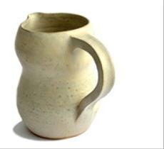 Jarra de cerámica gres color marfil rústico