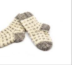Par de calcetines niños en lana natural - Puntitos grises