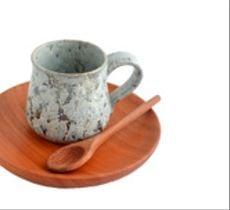 Set espresso tacita esmalte cristales y plato de raulí