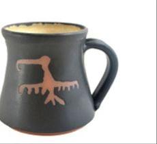 Tazón grande esmalte petroglifos - Manutara negro