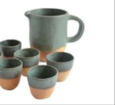 Juego pisco sour jarra y 6 vasos cerámica rústica gres turquesa