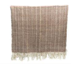 Piecera 1 1/2 plazas tejida a telar en lana 100% natural blanca y tostado