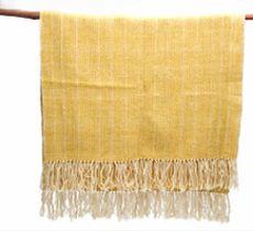 Piecera 1 1/2 plazas tejida a telar en lana 100% natural blanca y amarillo