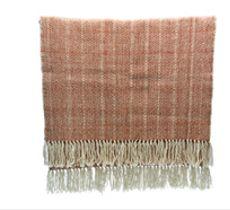 Piecera 1 1/2 plazas tejida a telar en lana 100% natural blanca y terracotta