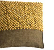 Cojín tejido a telar en alpaca natural - Verde y amarillo