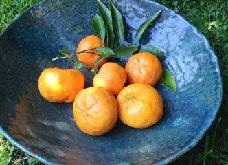 Decora tu casa con frutas de estación en una linda fuente de cerámica gres