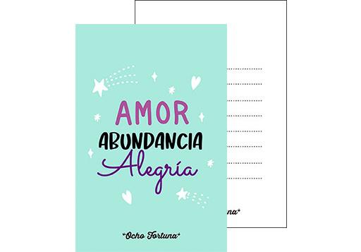 Postal Amor abundancia y alegría