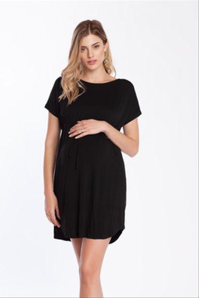 Vestido Inés Recogidos M/C Negro