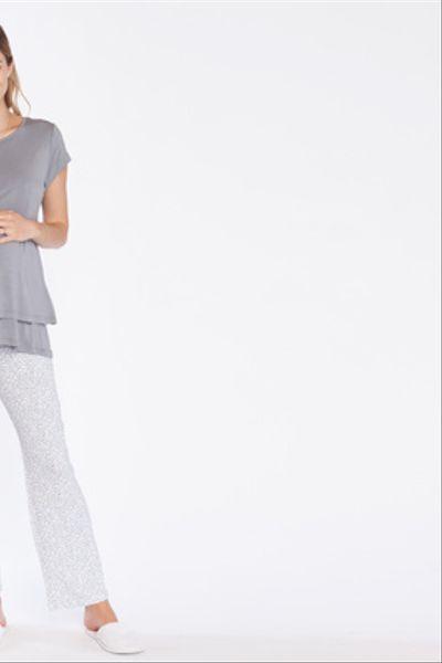 Pijama Polera Doble M/C Ramitas Grises