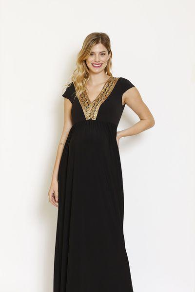 Vestido Pilar Largo M/C Negro