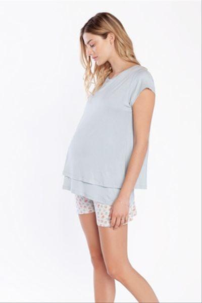 Pijama Short Polera Doble M/C Flores Celeste Rojas
