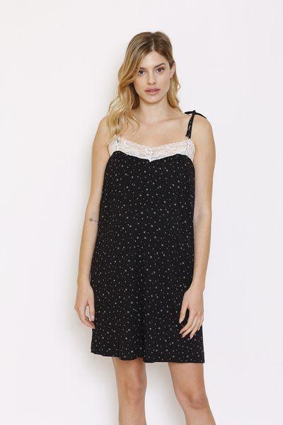 Camisa Dormir Cinta Negro Estrellas