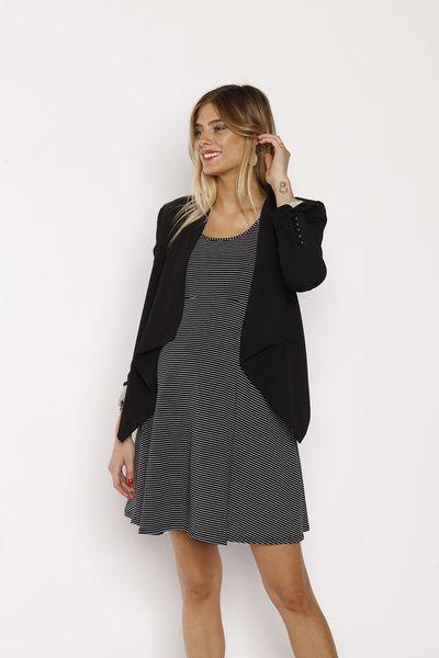Vestido Básico M/L Negro Rayas Blancas