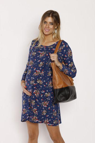 Vestido Básico M/L Flores Azules