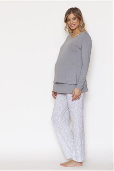 Pijama Polera Doble M/L Ramitas Grises