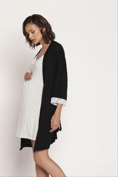Bata Maternal Kimono Negro