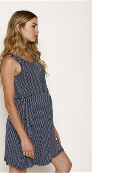 Vestido Lact. Vuelo Corto S/M Azul Lineas Blancas