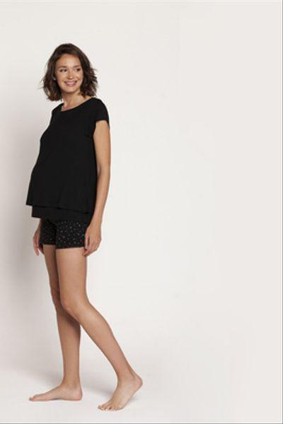 Pijama Short Polera Doble M/C Negro Estrellas