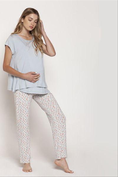 Pijama Polera Doble M/C Celeste Flores Rojas