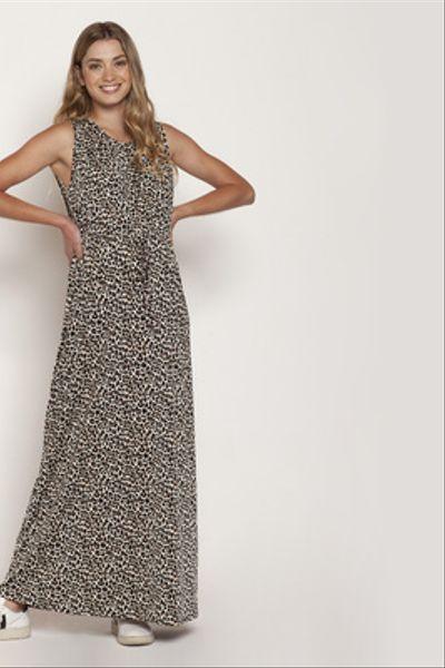 Vestido Gabriela largo S/M Animal Print Café
