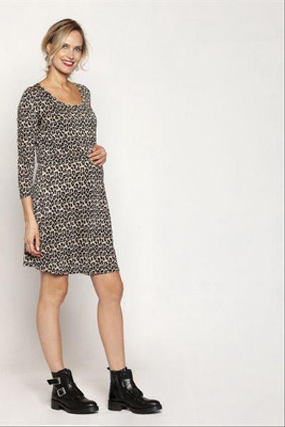 Vestido Lact. Vuelo Corto M/L Leopardo Fondo Beige