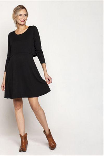 Vestido Lactancia Vuelo M/L Negro