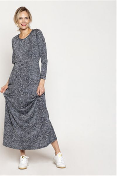 Vestido Gabriela largo M/L Leopardo Gris Celeste