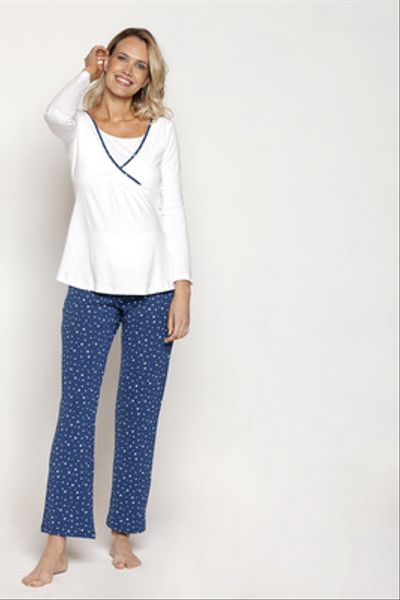 Pijama Polera Cruzada M/L Azul Estrellas Blancas