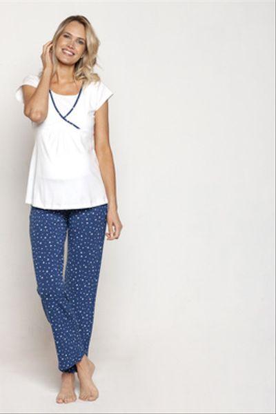 Pijama Polera Cruzada M/C Azul Estrellas Bcas