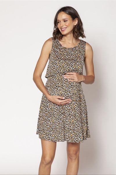 Vestido Lactancia Cortado S/M Animal Print Amarillo