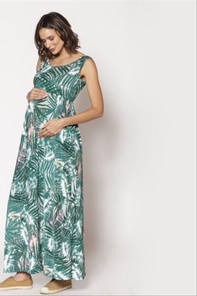 Vestido Largo Básico S/M Palmeras Verde