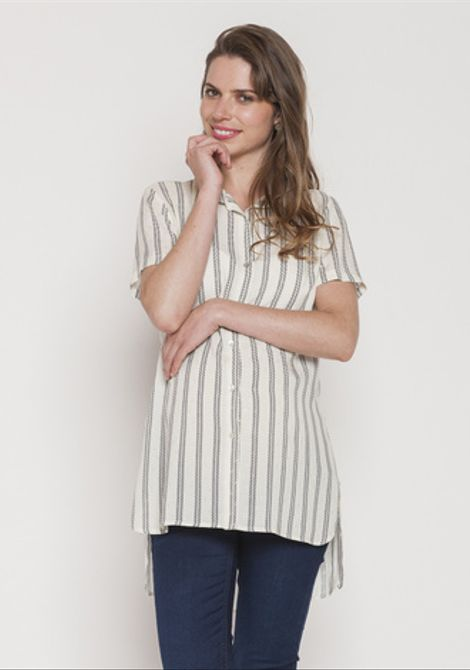 Blusa Camisera Larga Blanco