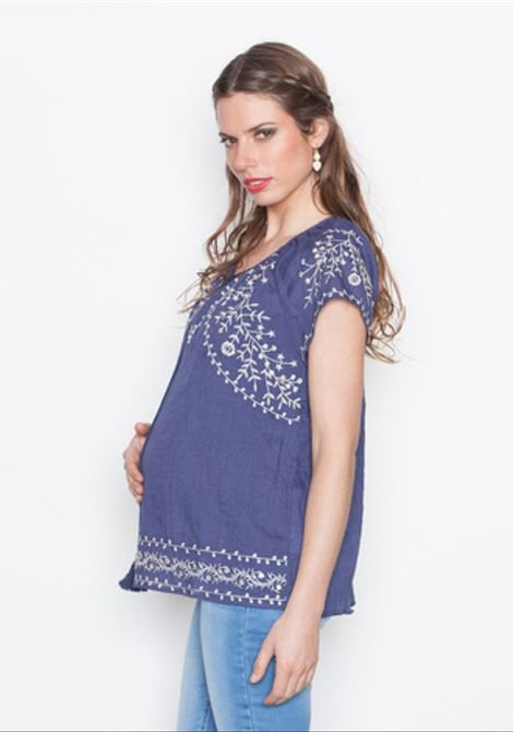 Blusa India Bordada II M/C