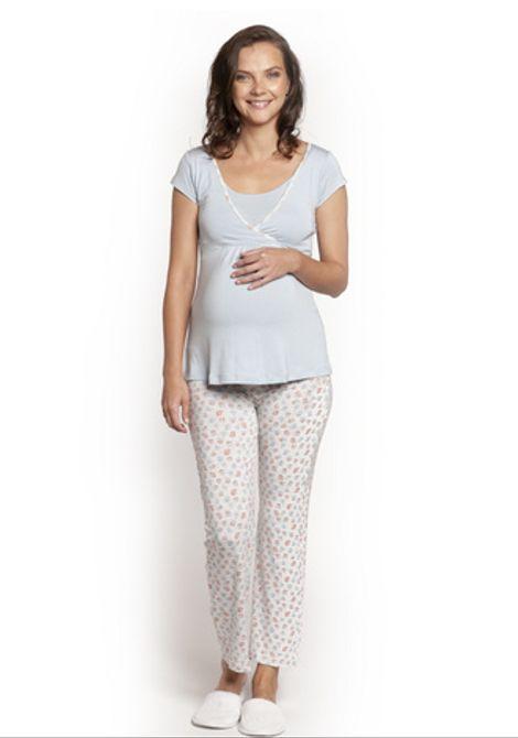 Pijama Est. Flores Celeste Rojas M/C
