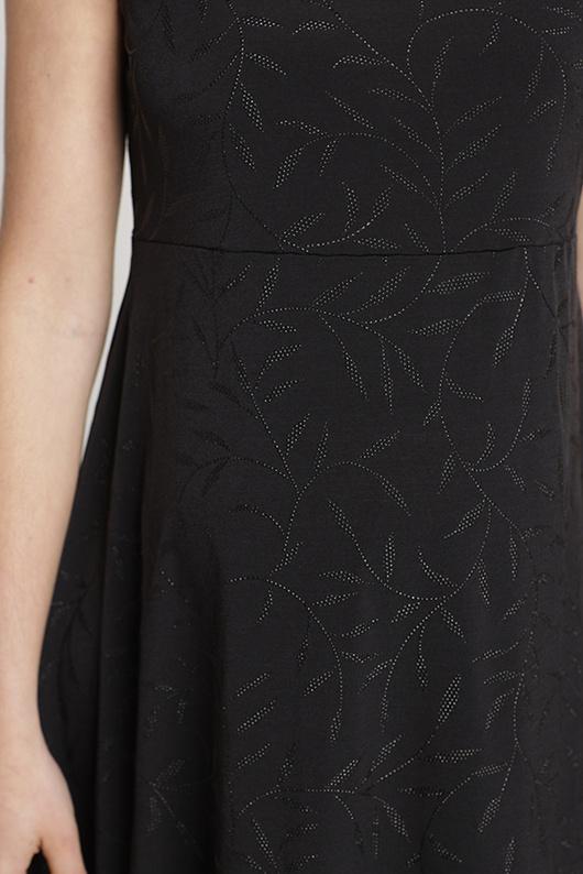 Vestido elegante Negro Hojas