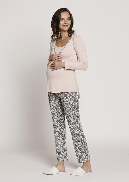 Pijama Polera Cruzada M/L Gris Flores Crema