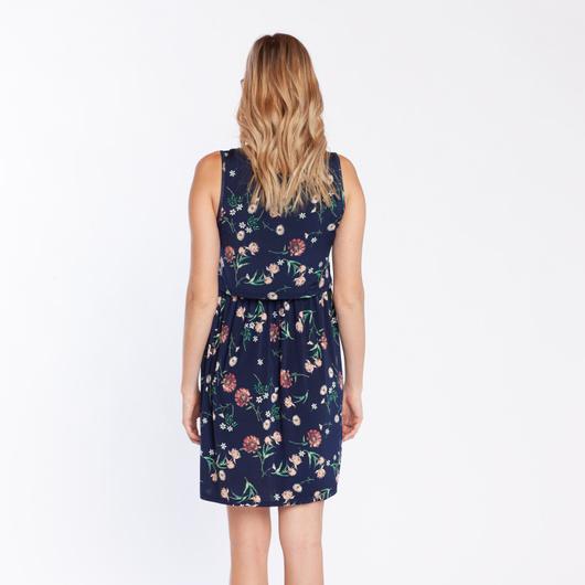 Vestido Lact. Vuelo S/M Flores Azules