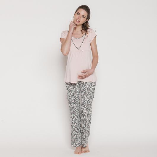 Pijama Polera Cruzada M/C Gris Flores Crema