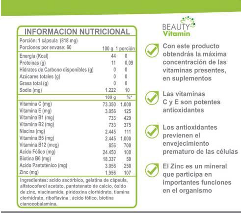 Beauty Vitamin: BIOTINA + VITAMINAS + ZINC
