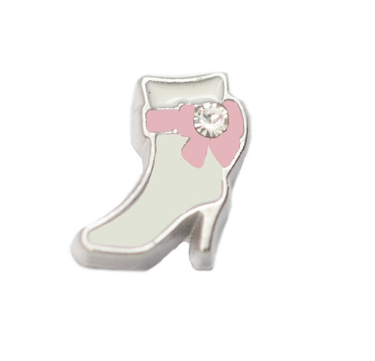 Bota blanca con lazo rosa