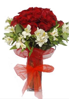 Florero 21 rosas rojas