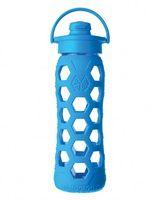 Botella de vidrio con tapa flip y funda de silicona (azulino - 650 ml.)